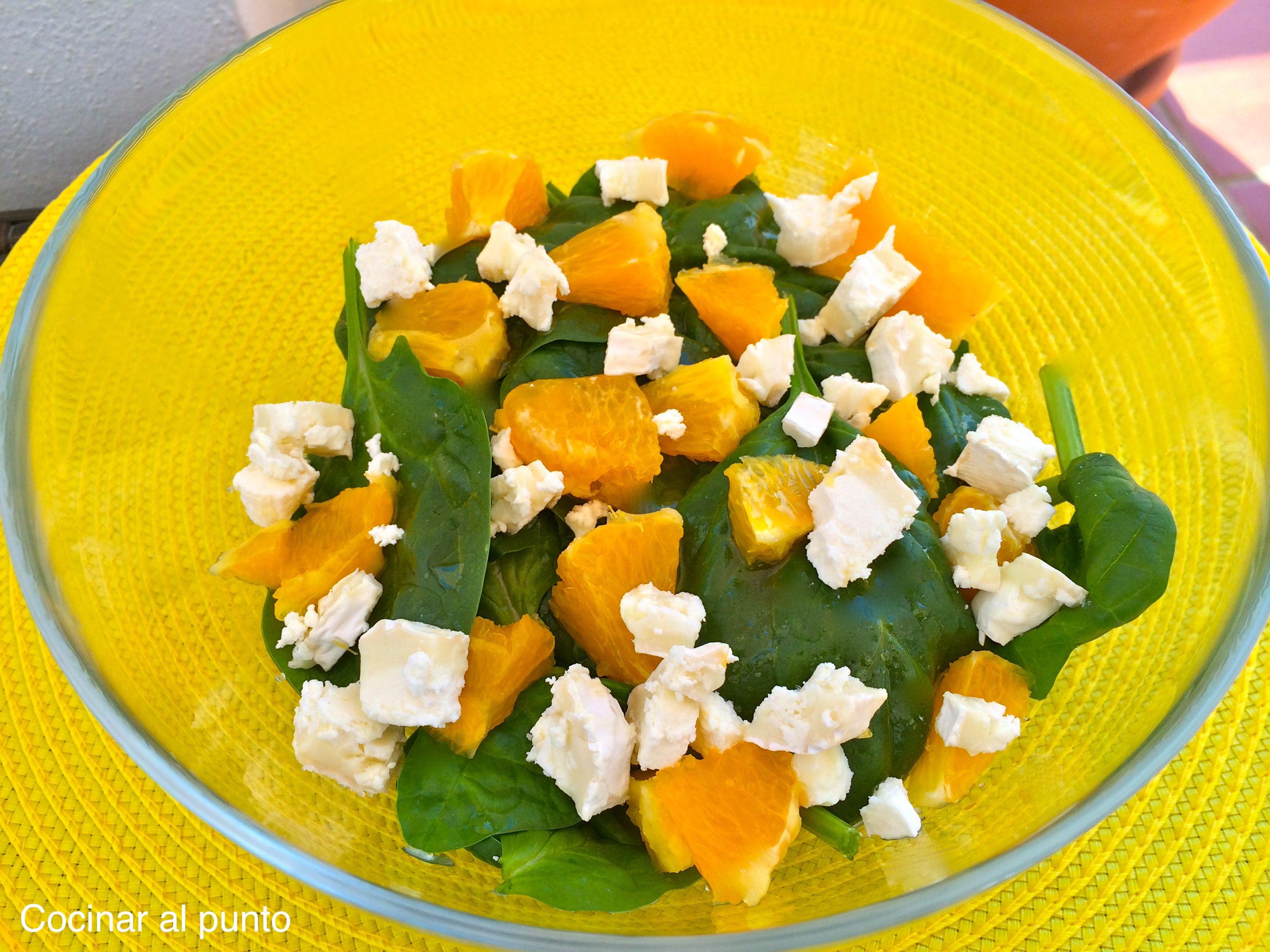 Ensalada de espinacas queso de cabra y naranja cocinar for Cocinar espinacas