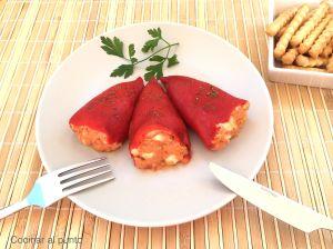 Pimientos del piquillo rellenos de atún y huevo