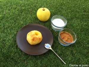 manzana al microondas